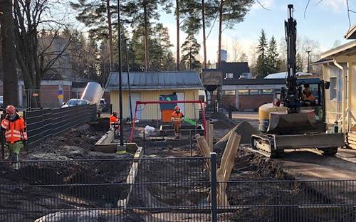 Kuva Tähdenlennon päiväkodin Pihan peruskorjauksesta. Projektin tilasi Vantaan kaupunki. Projekti valmistui 2020.